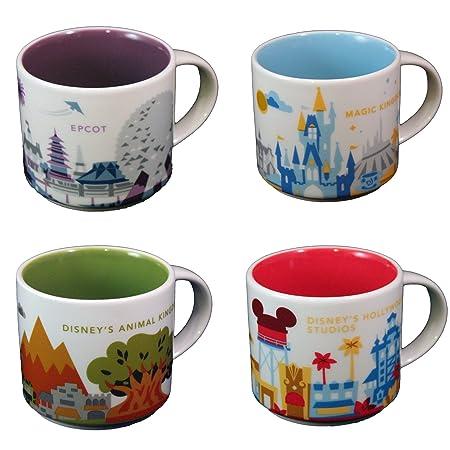 Starbucks Disney Parks Set Of 4 Mugs Epcot Magic Kingdom