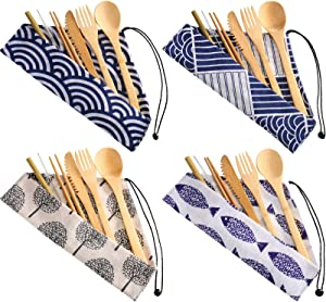 4 Sets Bamboo Travel Utensils Set, Reusable Bamboo Utensil Fork Knife Spoon Chopsticks Straw Cleaning Brush for Travel Picnic Office School (Pattern 2)