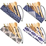 4 Sets Bamboo Travel Utensils Set, Reusable Bamboo Utensil Fork Knife Spoon Chopsticks Straw Cleaning Brush for Travel Picnic