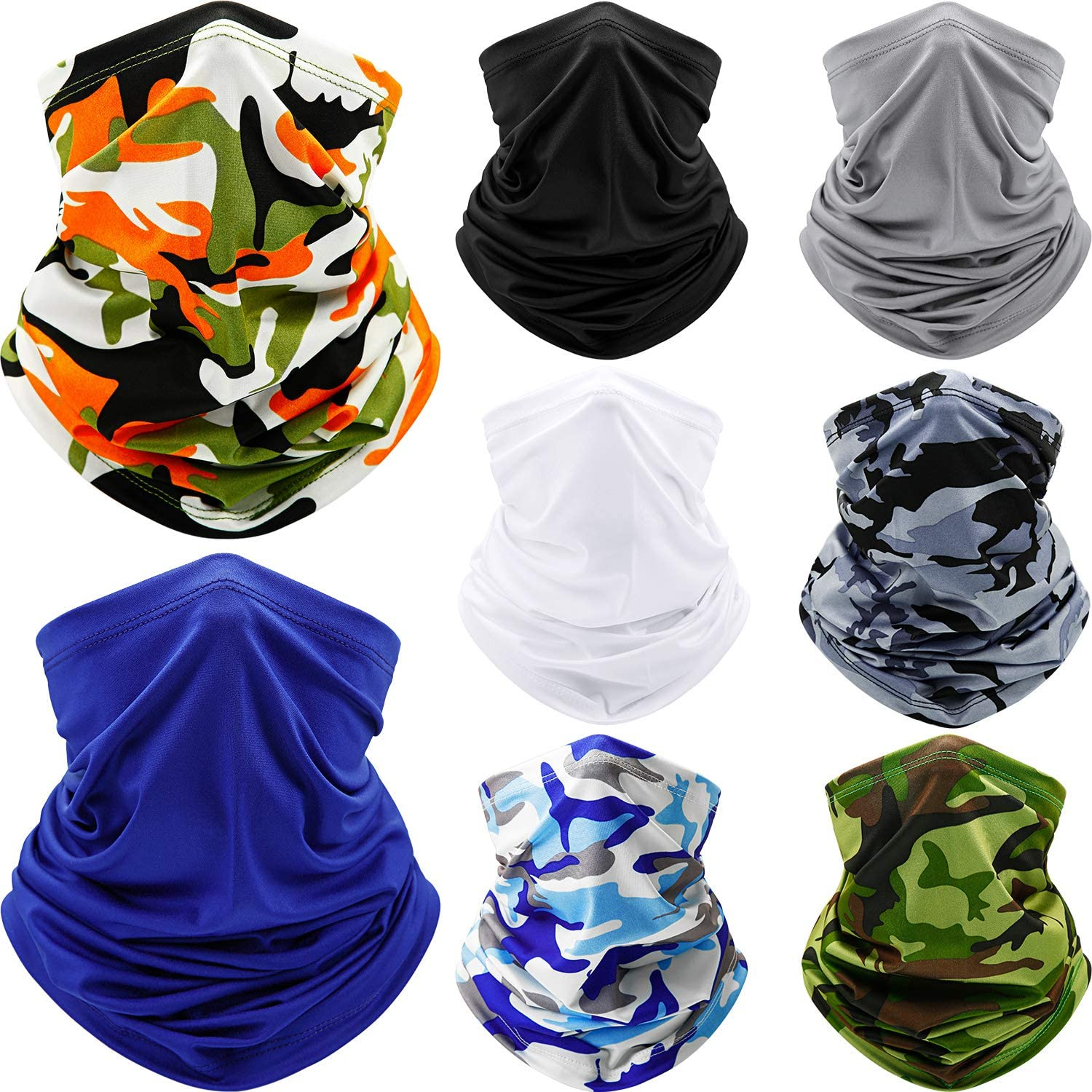 8 Pieces Summer UV Protection Bandana Neck Gaiter Breathable Cooling Neck Scarf for Men Women Sports Outdoor Dust Running Cycling Hiking Fishing