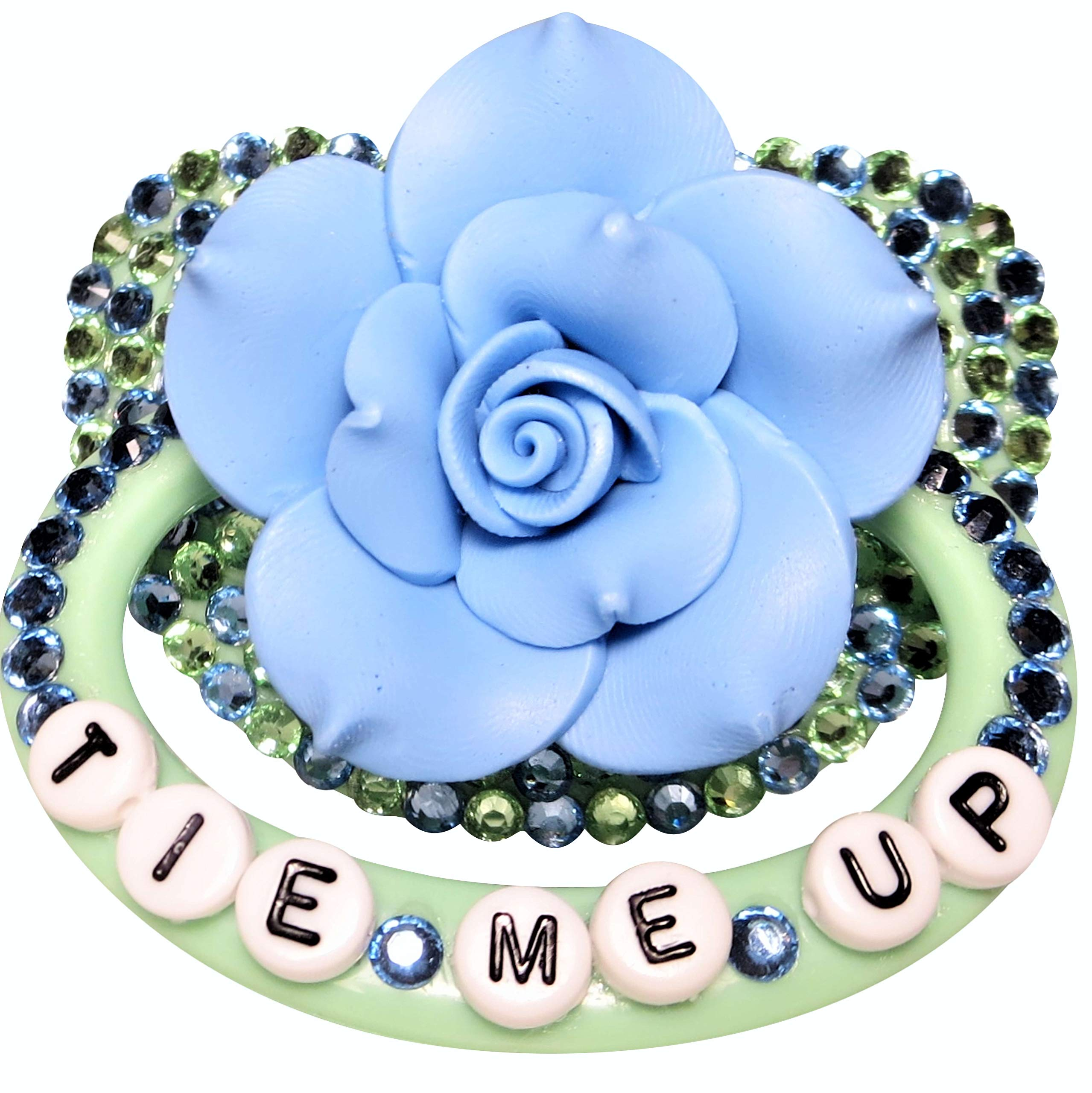 Baby Bear Pacis Adult Pacifier,''Tie Me Up'' Green Flower Adult Paci (DDLG/ABDL) by Baby Bear Pacis