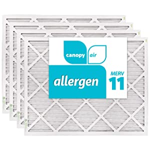 "Canopy Air 20x25x1 MERV 11 19 1/2"" x 24 1/2"" x 3/4"", 4-Pack Allergen Protection Air Filter for a Healthy Home, Made in The USA"
