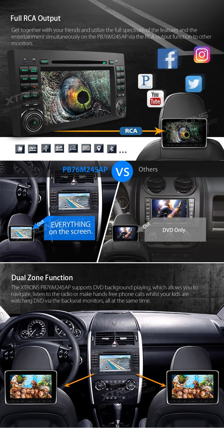 XTRONS Android 6.0 Octa-Core 64Bit 2G RAM 32GB ROM 7 Inch Capacitive Touch Screen Car Stereo Radio DVD Player GPS CANbus Screen Mirroring Function OBD2 Tire Pressure Monitoring for Mercedes-Benz by XTRONS (Image #7)