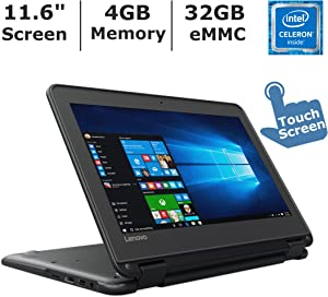 "Lenovo N23 2-in-1 Convertible Laptop (2017 ), 11.6"" Touchscreen HD IPS Display, Intel Celeron Dual Core Processor Up to 2.5 GHz, 4GB RAM, 32GB SSD, Webcam, Bluetooth, Windows 10 Professional"