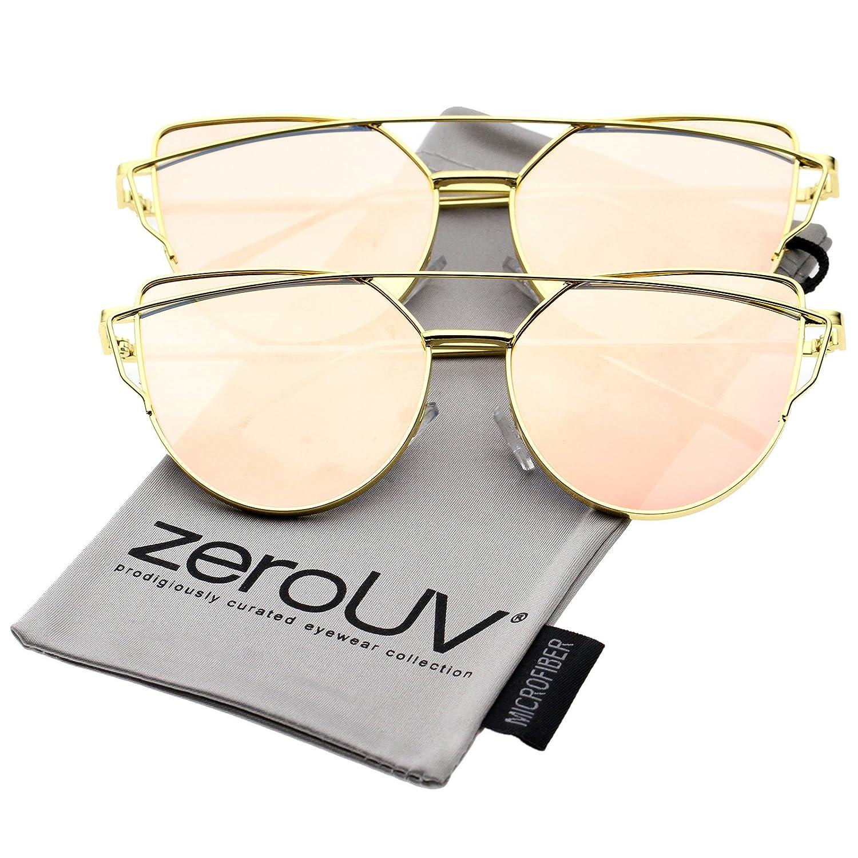 e0e8e46f53 Amazon.com  Oversize Metal Aviator Sunglasses With Thin Arms And Colored  Mirror Flat Lens 56mm (2 Pack