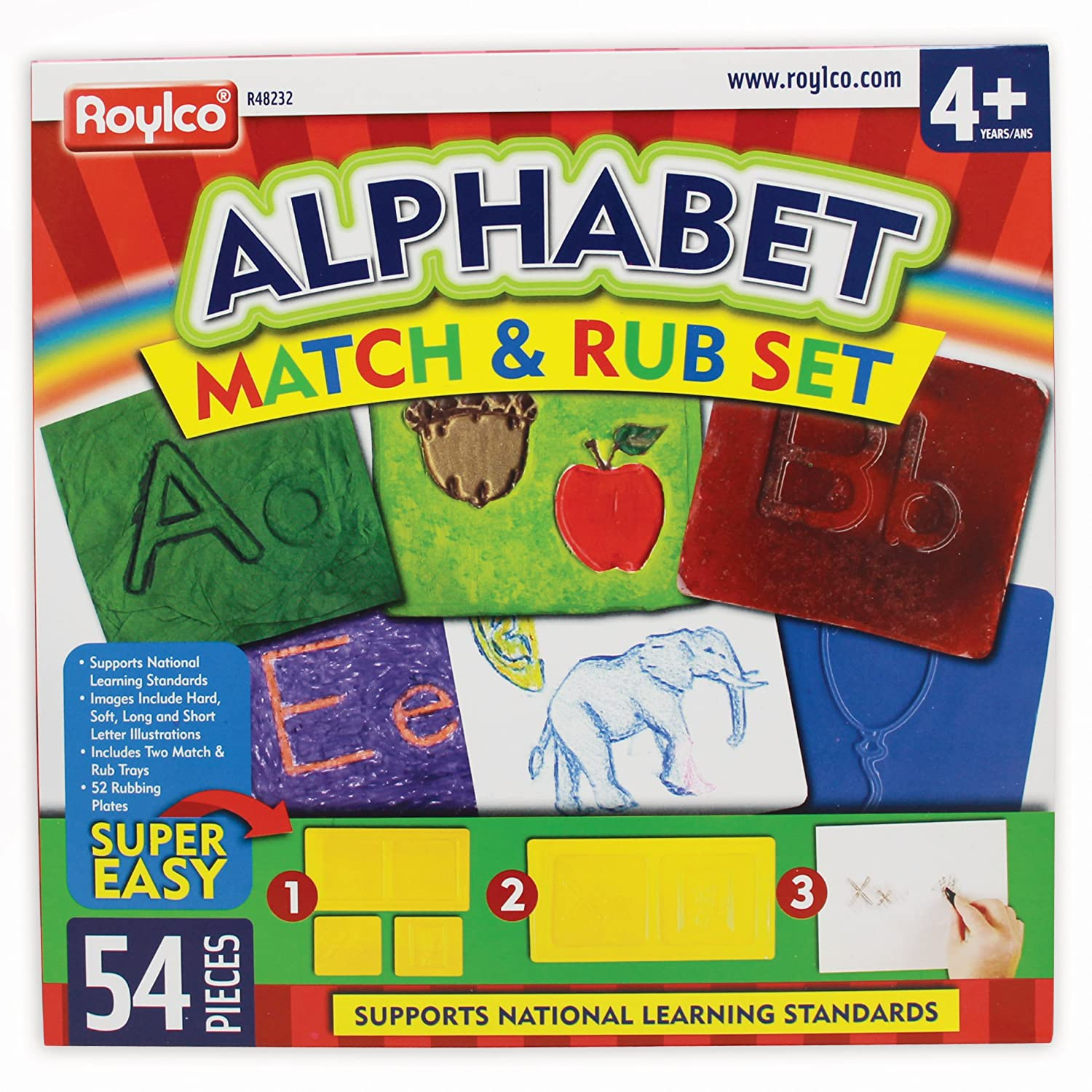 Roylco Alphabet Match & Rub Set Rubbing Plates R-48232
