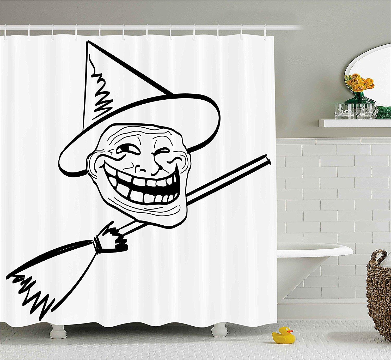 Humor Decor cortina de ducha por, Halloween bruja diseño de espíritu Guy Meme Lol Joy Spooky Avatar con imagen, tela Set de decoración de baño con ganchos, ...