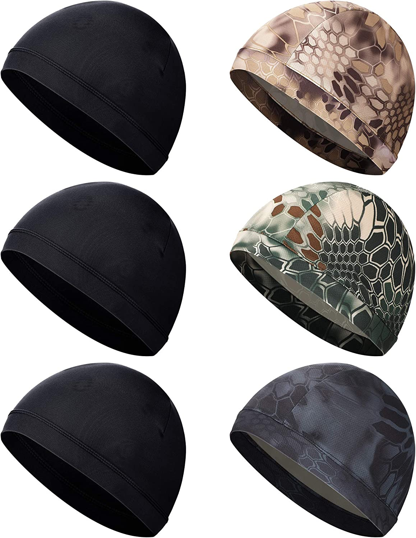 SATINIOR 6 Pieces Unisex Helmet Liner Skull Cap Cooling Cycling Cap Sports Helmet Cap Sweat Wicking Cap