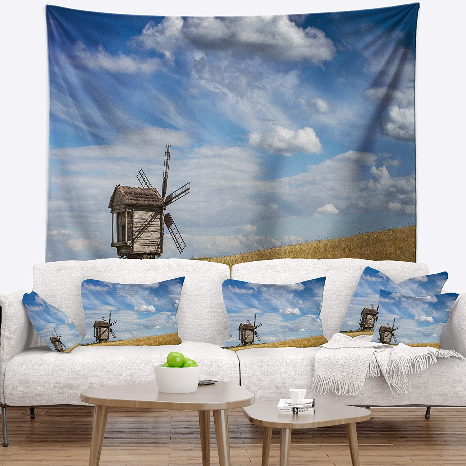 Created On Lightweight Polyester Fabric 80 in Designart TAP11219-80-68  Cloudy Sky and Windmill Summer Day Landscape Blanket D/écor Art for Home and Office Wall Tapestry x Large x 68 in