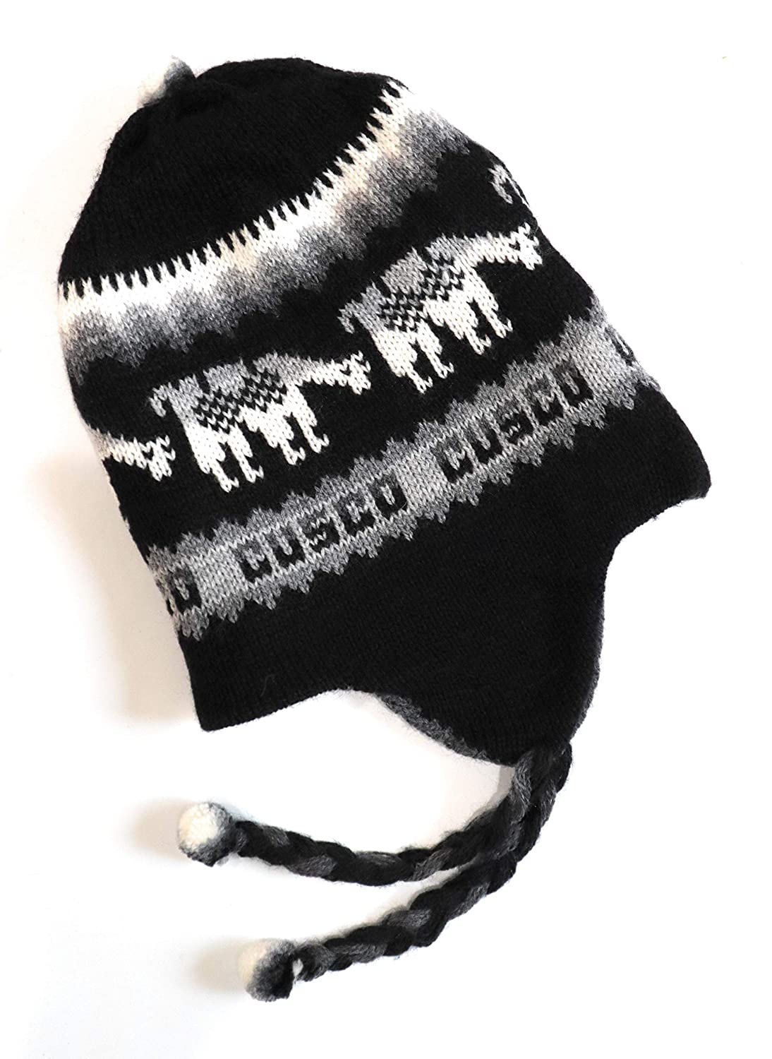 ffd581087 Amazon.com: Hand-Knotted Chullo Winter Hat Black/Grey Color ...
