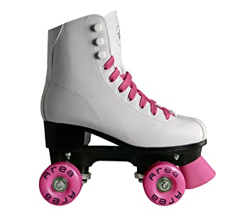 Patines para patinaje artístico sobre ruedas con botas color blanco (ruedas y cordones