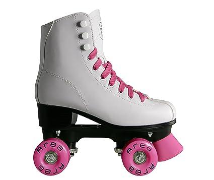 Patines para patinaje artístico sobre ruedas con botas color blanco (ruedas y cordones color rosa): Amazon.es: Deportes y aire libre