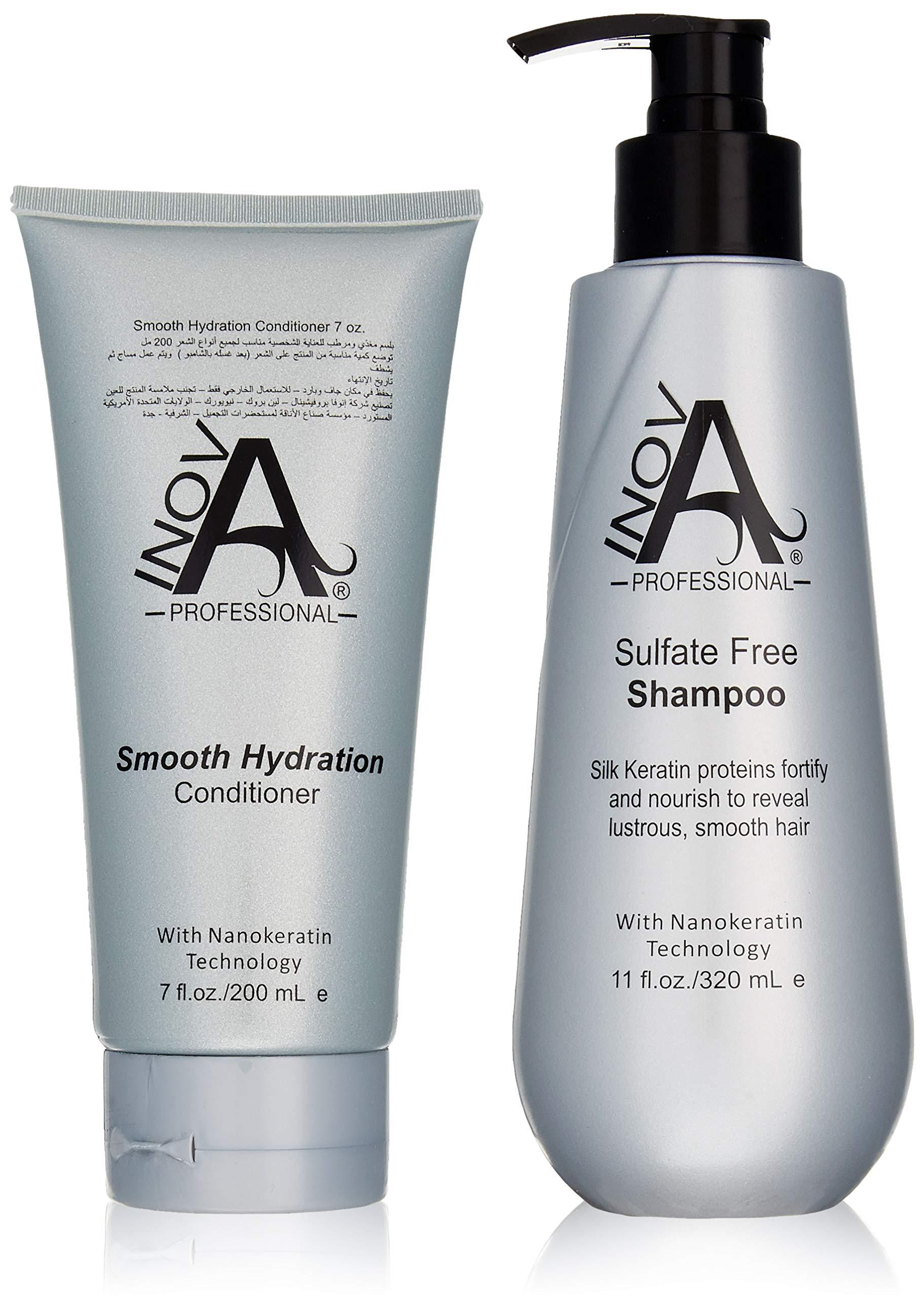 Inova Professional Silk Keratin Shampoo & Conditioner Set - Smooth Protection Sulfate-Free Shampoo & Smooth Hydration Conditioner, 11 Fluid Ounce & 7 Fluid Ounce by inova professional inovaprofessional