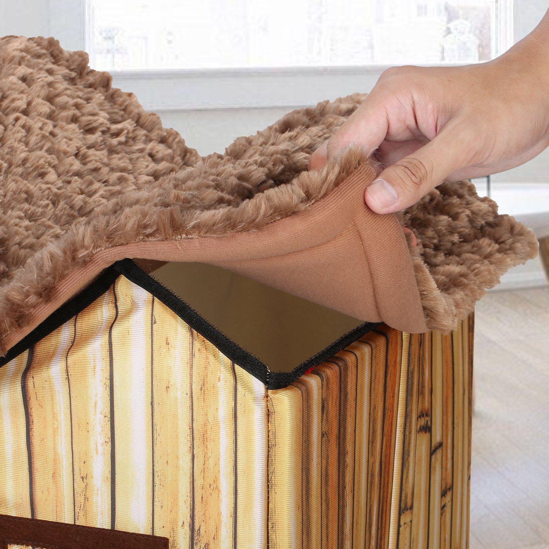DoubleBlack Cuccia Casetta per Gatti Interno Cani Cuscino Casa Pieghevole Cucce Animali Morbida Casette Piccolo Nicchie Modello Bamb/ù