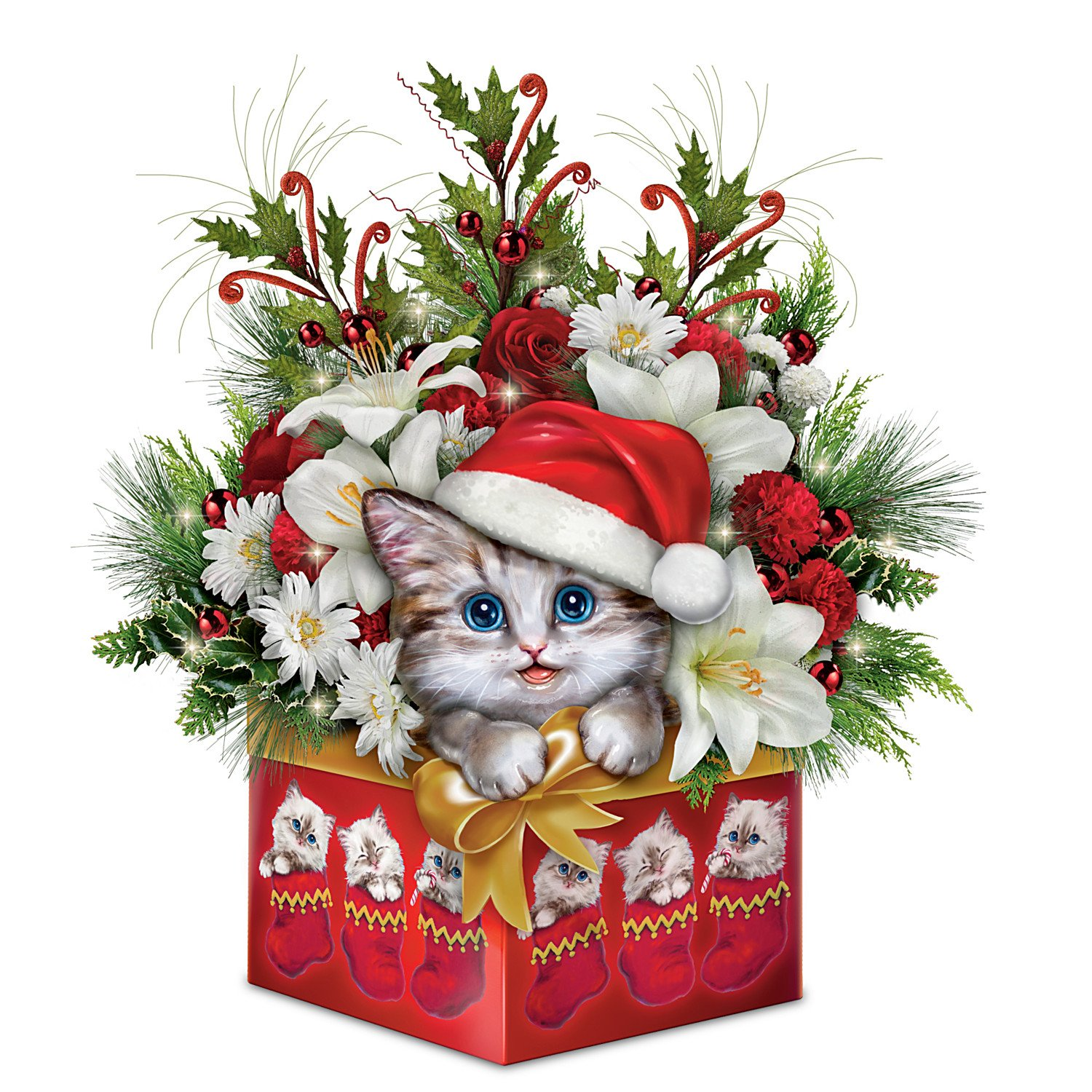 Kayomi Harai Cat Art Christmas Floral Centerpiece Decoration: Bradford Exchange by The Bradford Exchange