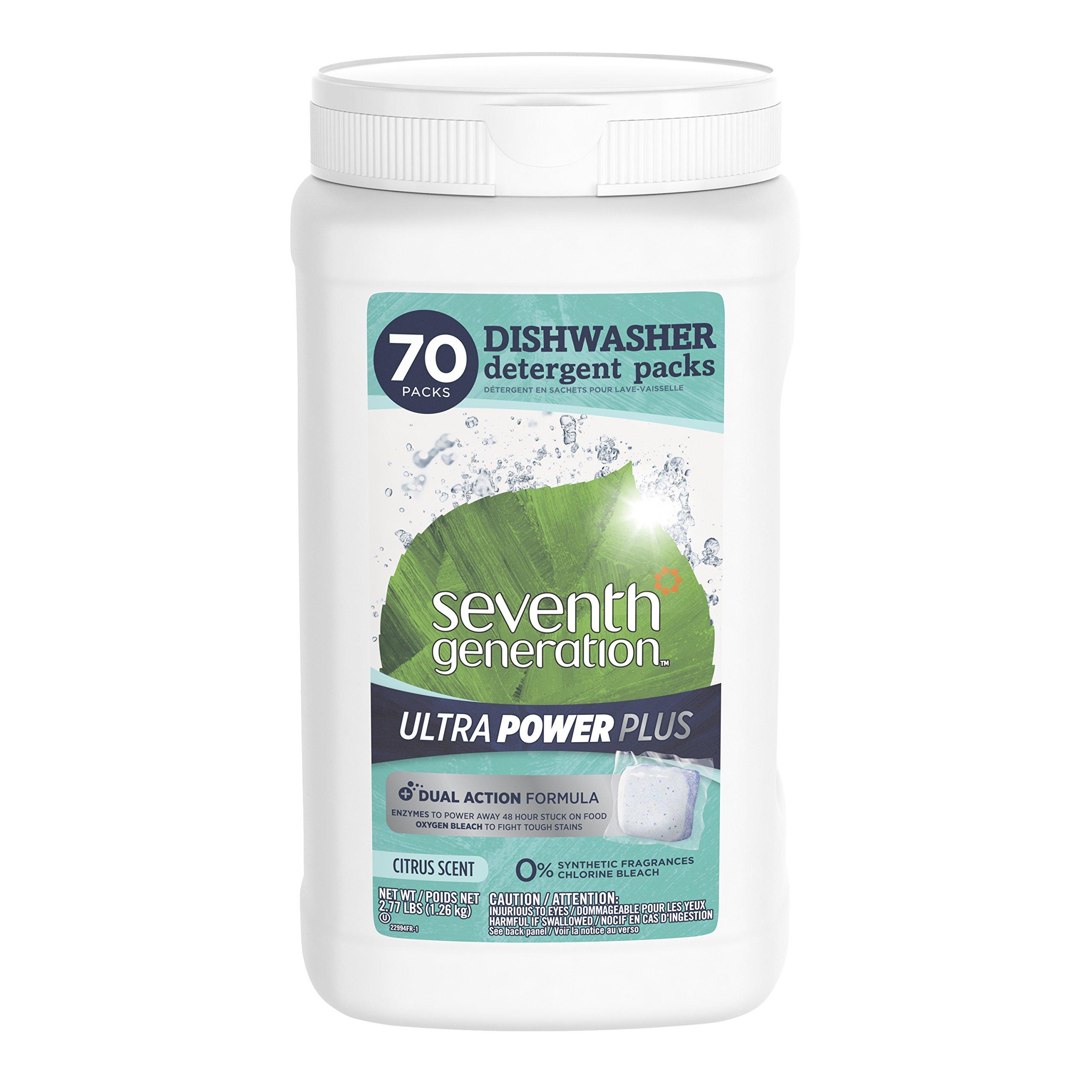 Seventh Generation Ultra Power Plus Dishwasher Detergent Packs, Fresh Citrus Scent, 70 count