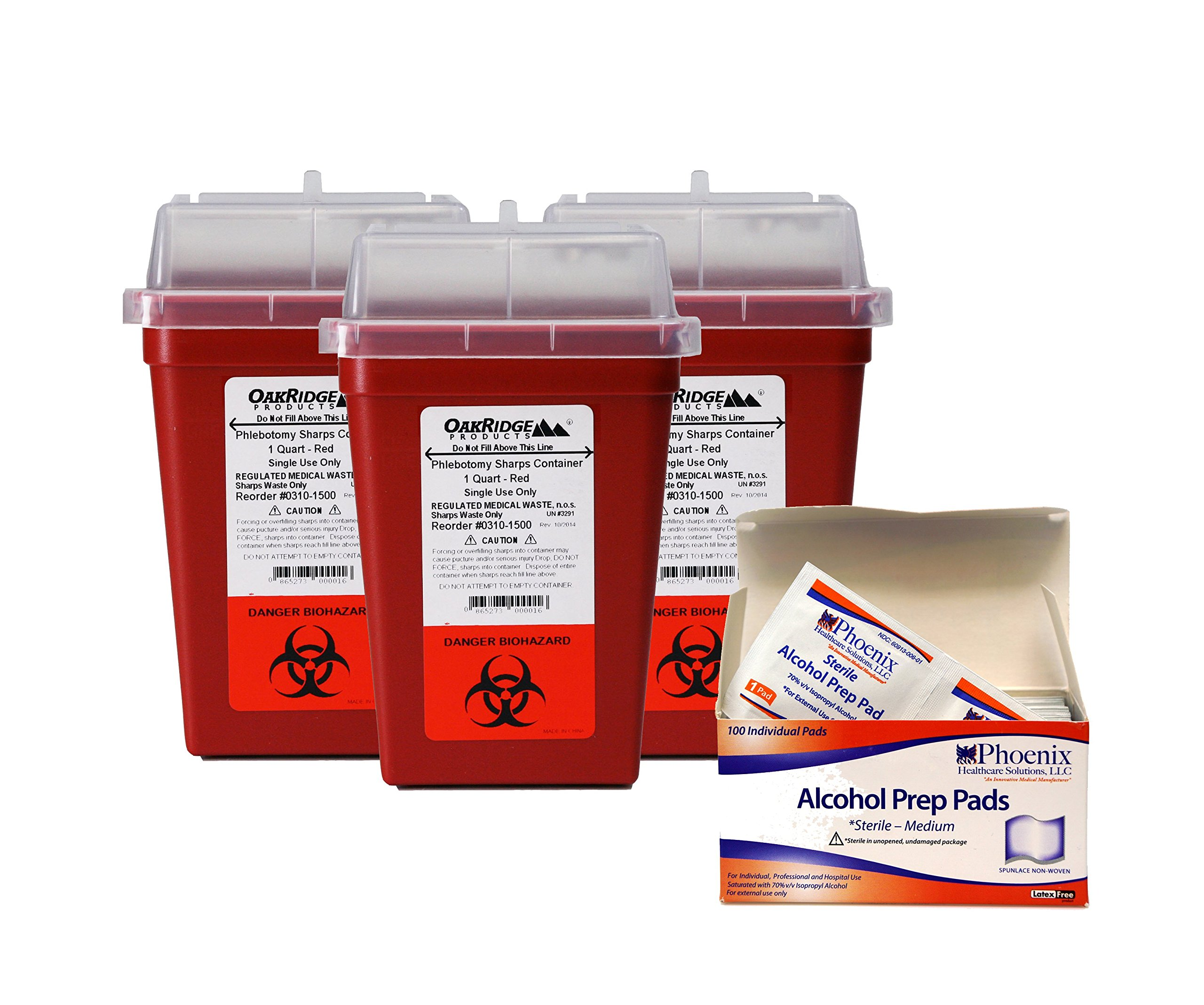 Oakridge Sharps Container - 1 Quart (Pack 3) with Free 100 Sterile Wipes
