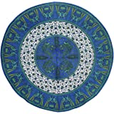 """Floral Peacock Round Cotton Tablecloth 72"""" Blue"""