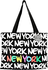 51b07ab36b01 Robin Ruth New York Neon Font Canvas Tote Shoulder Bag