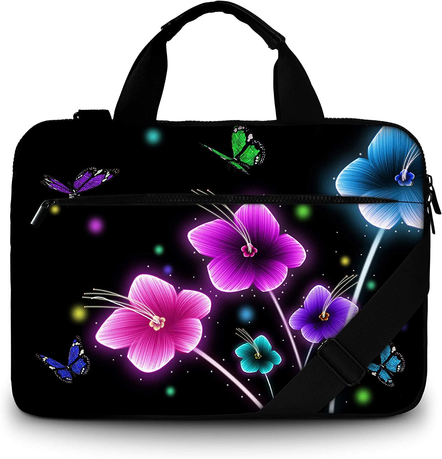 RICHEN Canvas Laptop Shoulder Bag Compatible with 11.6/12/12.9/13 Inches Laptop Netbook,Protective Canvas Carrying Handbag Briefcase Sleeve Case Cover with Side Handle (11-13 inch, Flowers)