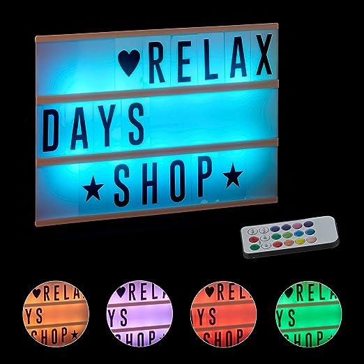 Relaxdays Caja de Luz Led con 85 Letras y Símbolos Cambio de Color ...
