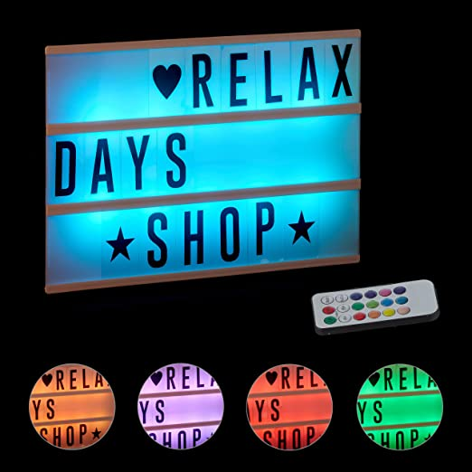 Relaxdays Caja de Luz Led con 85 Letras y Símbolos Cambio de ...
