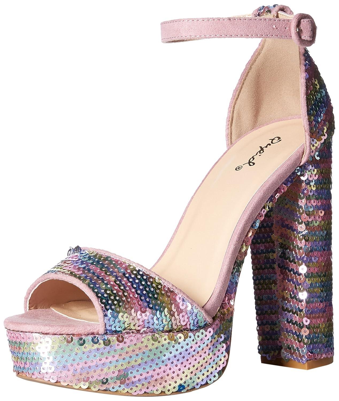 Qupid Women's Platform Heeled Sandal B079V3NFBQ 8 B(M) US Pink/Multi Sequin