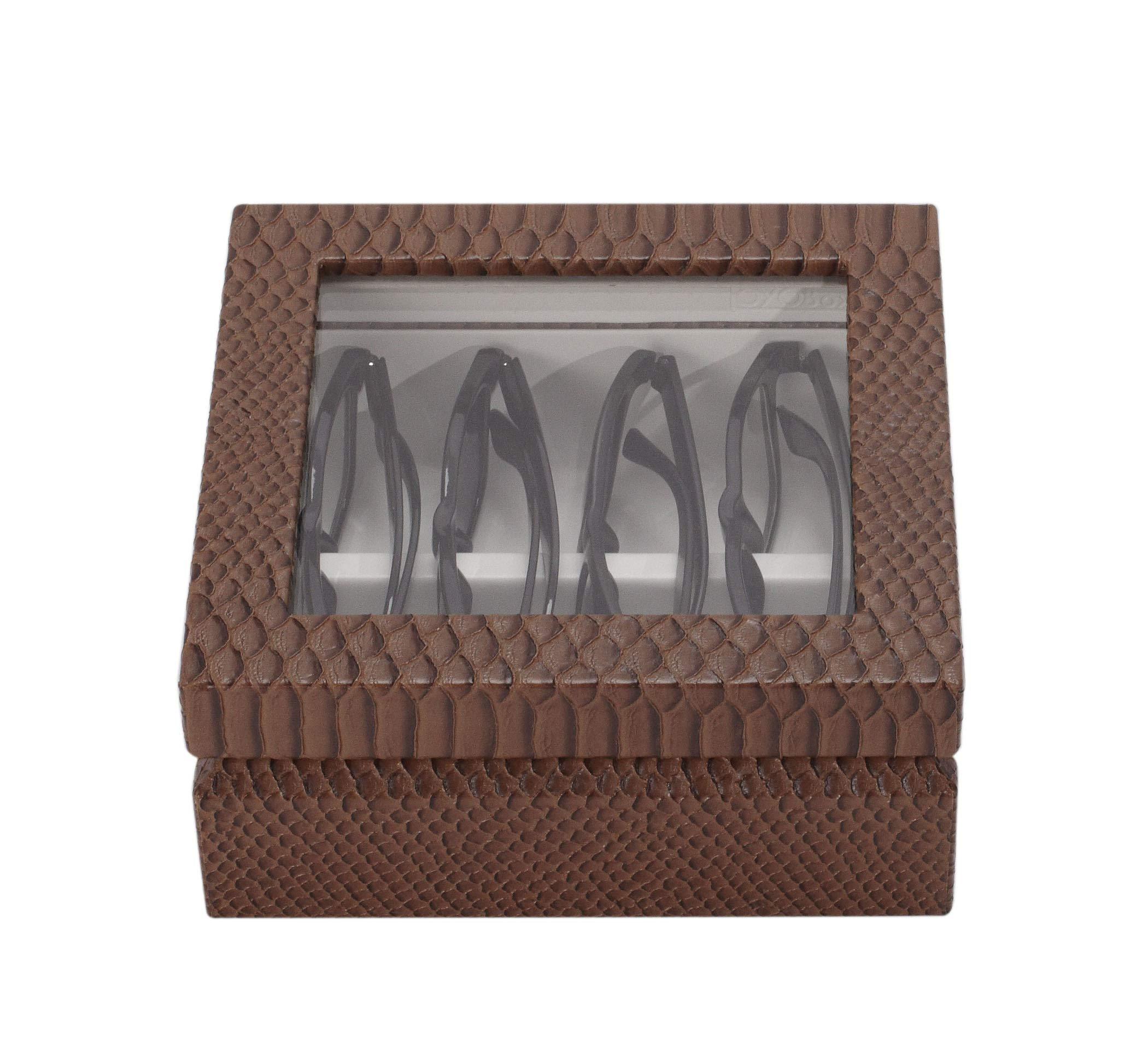 OYOBox Mini Exotic Print Luxury Eyewear Organizer, Wood Display Box for Glasses + Sunglasses (Brown Croc) by OYOBox