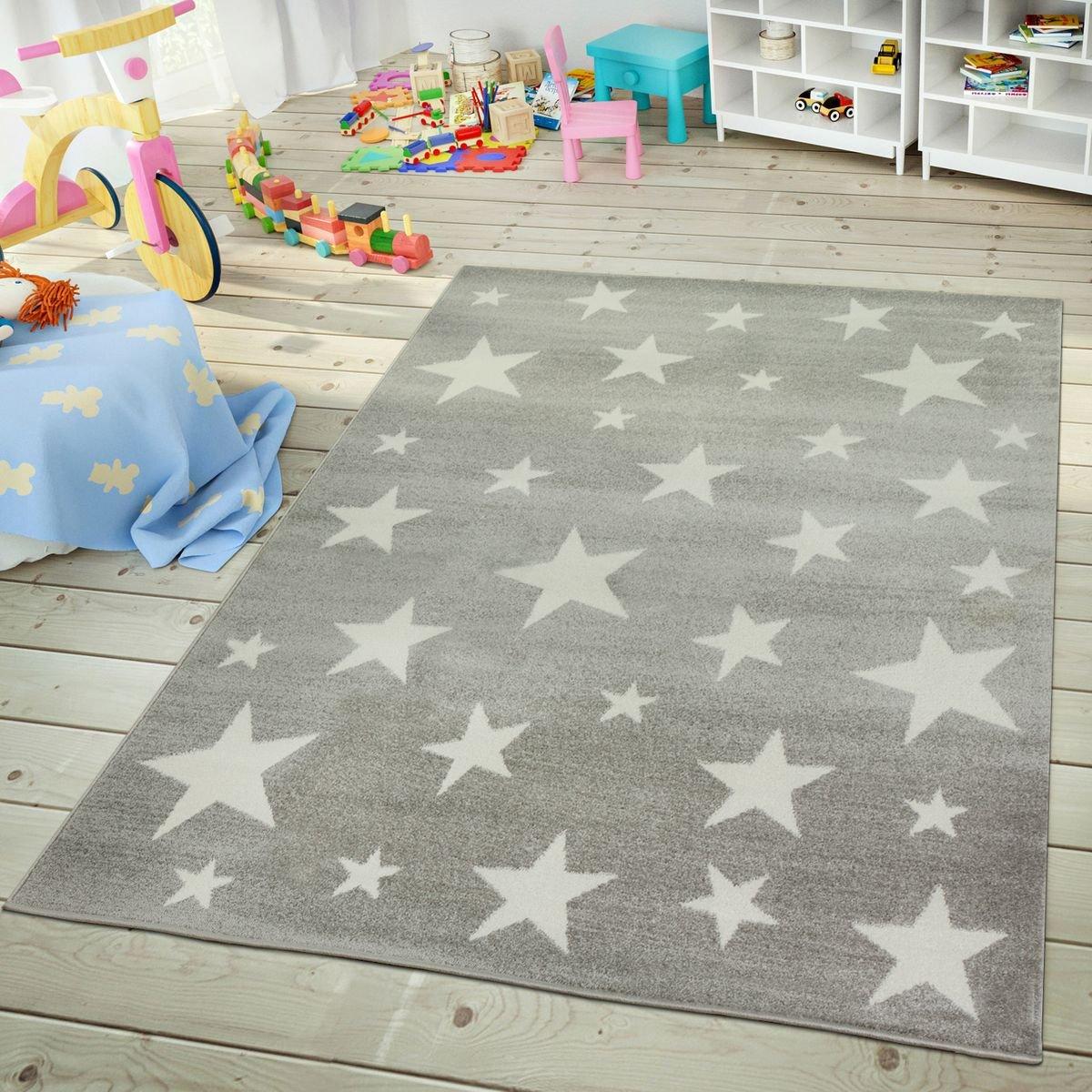 TT Home Kinder- & Jugendzimmer Teppich Im Sternhimmel Design Pastell Trend In Grau Weiß, Größe:200x280 cm