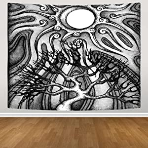 Tree Tapestry Black and White Tapestry Sun and Moon Wall Hanging Tapestry Aesthetic Mystic Tapestry for Bedroom Living Room Home Decor 51.2 X 59.1 Inches