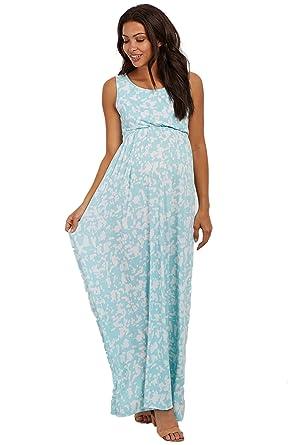 8385c1d86dcbf PinkBlush Maternity Mint Abstract Sleeveless Maternity Maxi Dress, Large