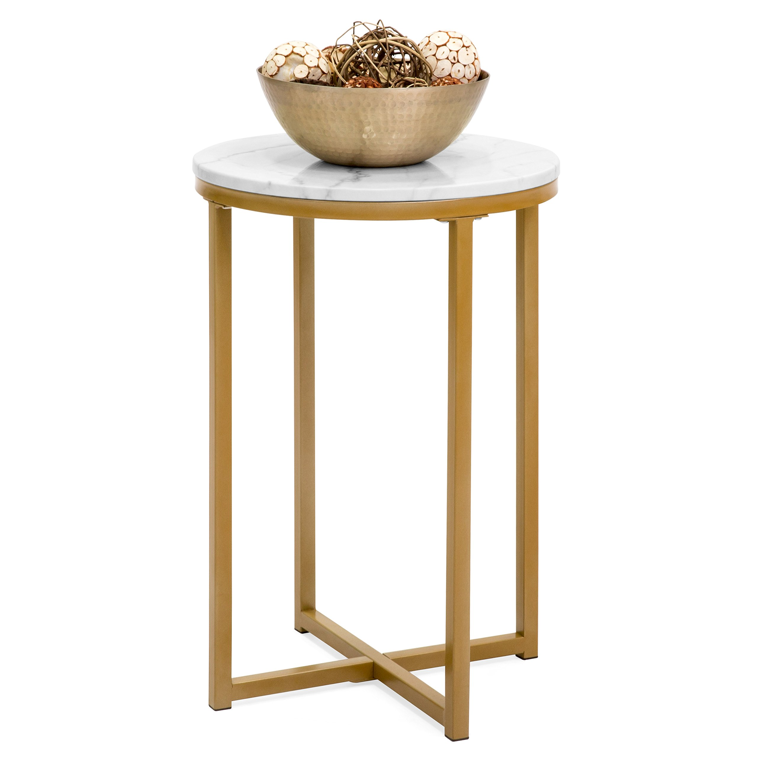 Best Choice Products 16in Faux Marble Modern Living Room Round Side End Accent Coffee Table Nightstand w/Metal Frame, White/Gold by Best Choice Products