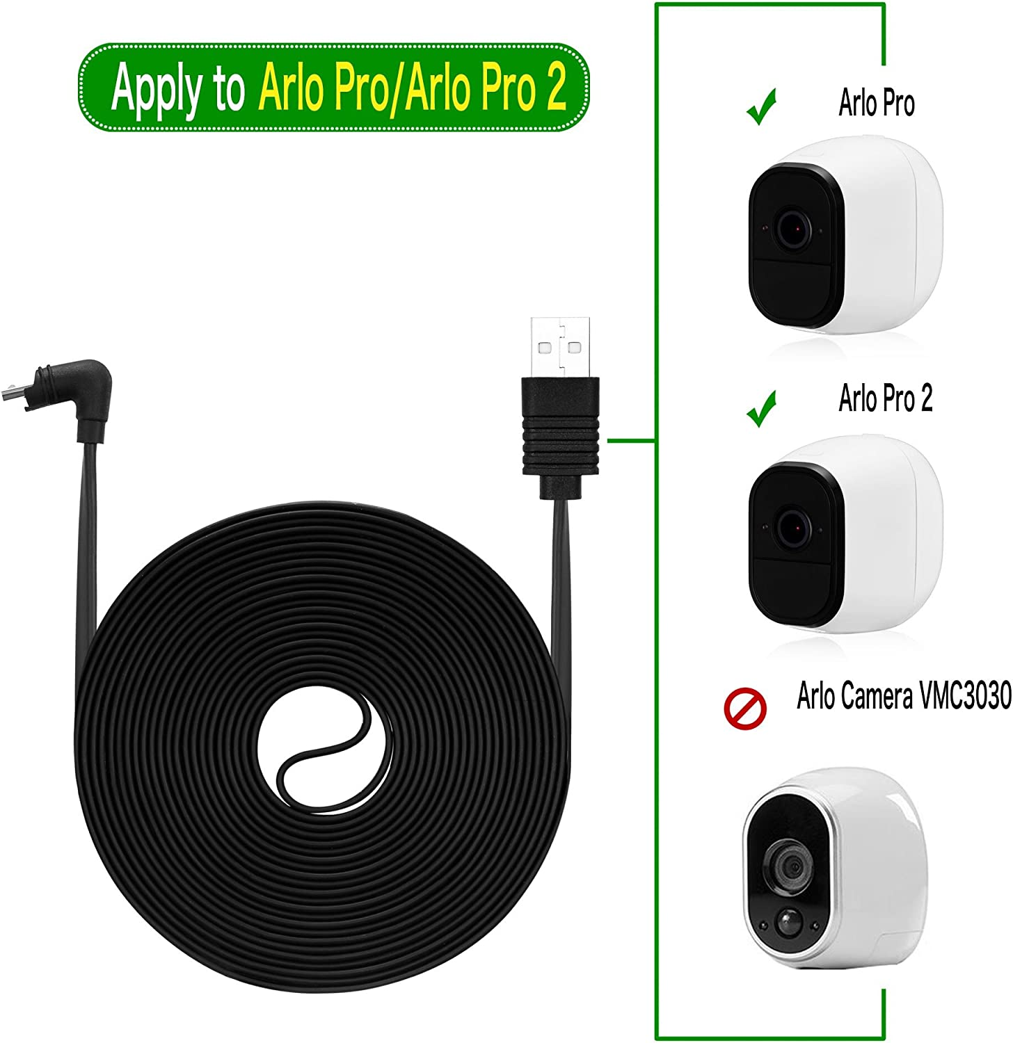 Tested-Tec 70 Degree 20Ft Flat Charging Power Cord Black 20ft Power Cable//Black Plug