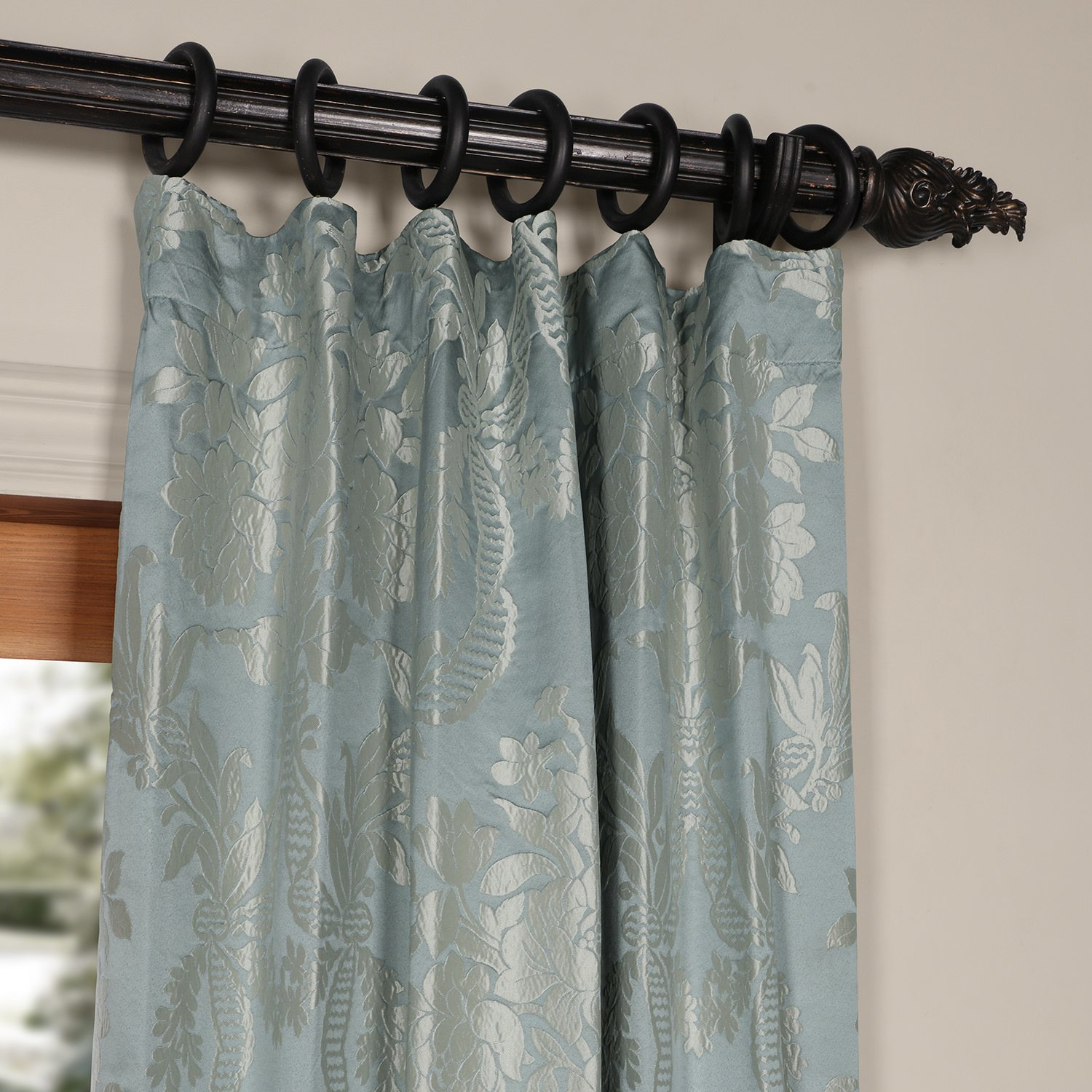 amazoncom half price drapes jqch magdelena faux silk  - amazoncom half price drapes jqch magdelena faux silk jacquardcurtainsteel blue  silver x  home  kitchen