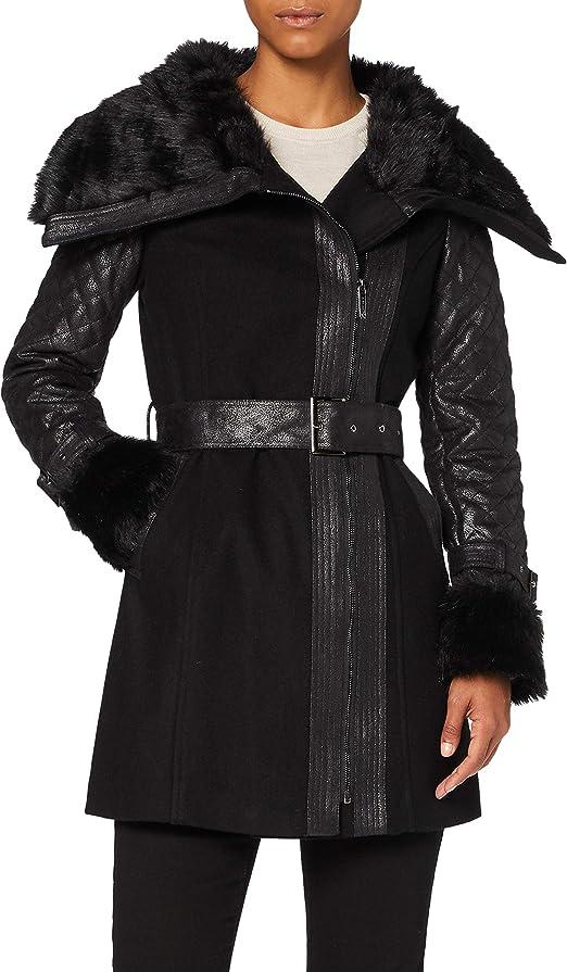 TALLA 36 (Talla del fabricante: 36 Taglia Produttore 36). Morgan Manteau Col Imitation Fourrure Gefrou Abrigo para Mujer