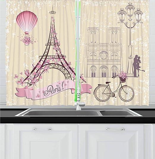 "Eiffel Kitchen Curtains 2 Panel Set Window Drapes 55/"" X 39/"" by Ambesonne"