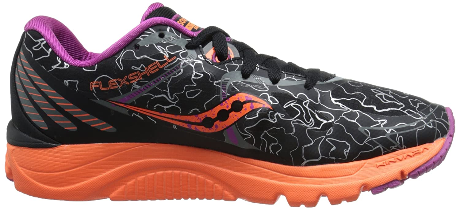 Saucony Women's Kinvara 6 Runshield Footwear, Black/Orange/Purple, 37.5 EU