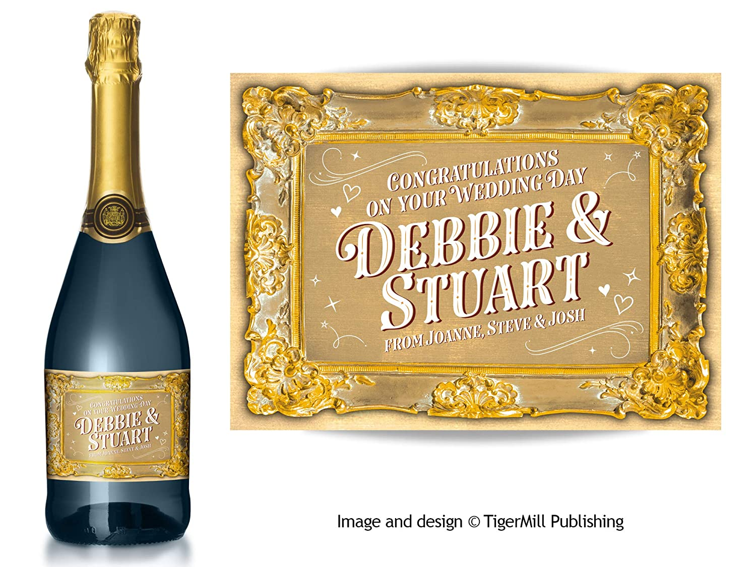Hen Night Any Occasion Gift Anniversary Personalised Gold Baroque Effect Champagne Label Engagement Blue//Gold Wedding Birthday