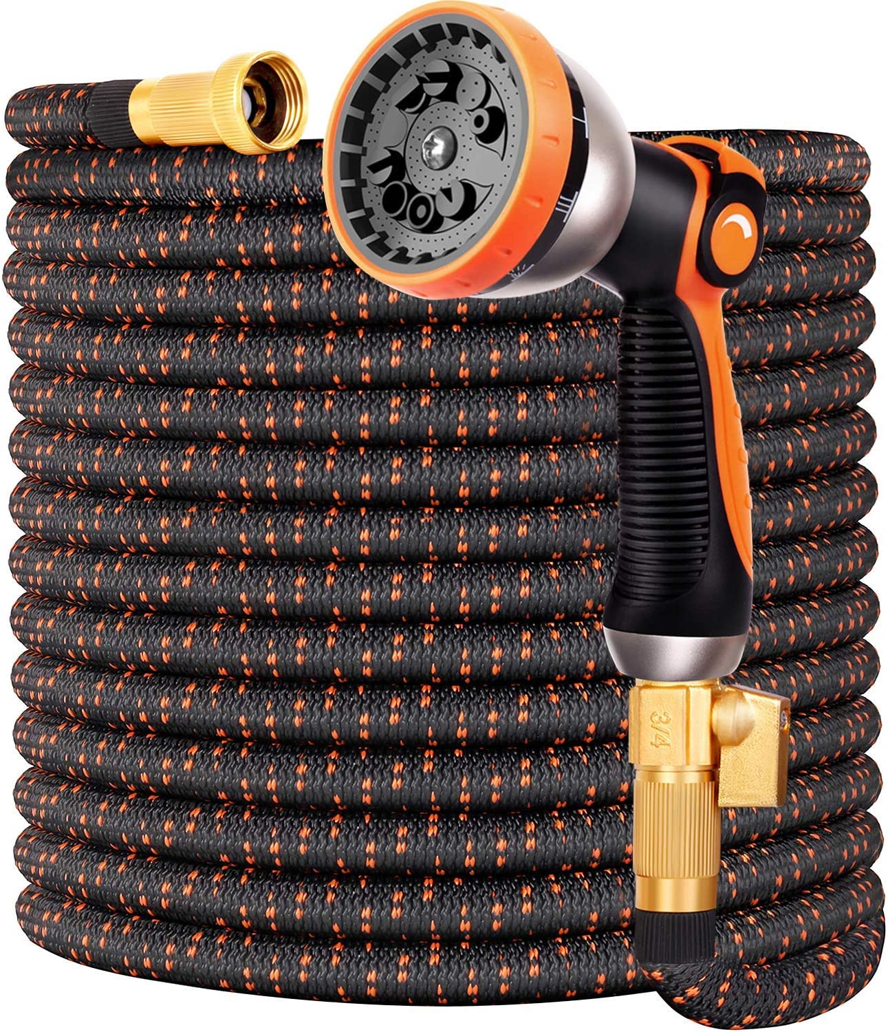 100FT Expandable Garden Hose, No-Kink Flexible Water Hose, 3/4 Inch Solid Brass Fittings, 9-Function Spray Nozzle
