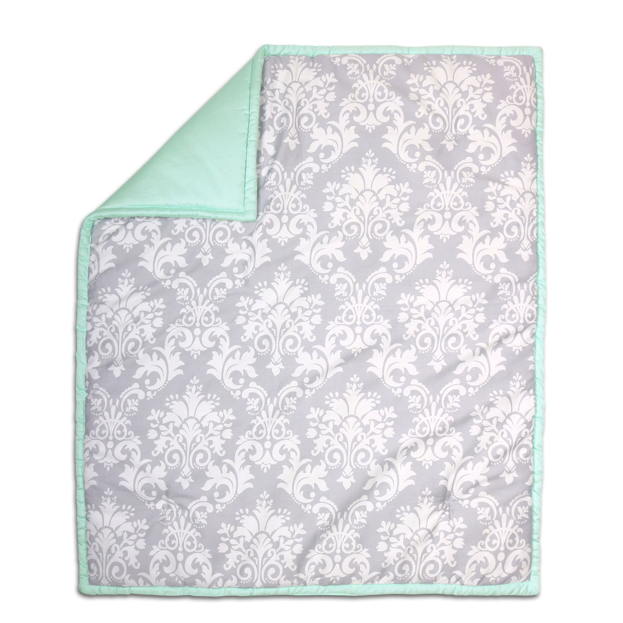 Grey Damask and Mint Green Reversible 100% Cotton Crib Quilt by The Peanut Shell