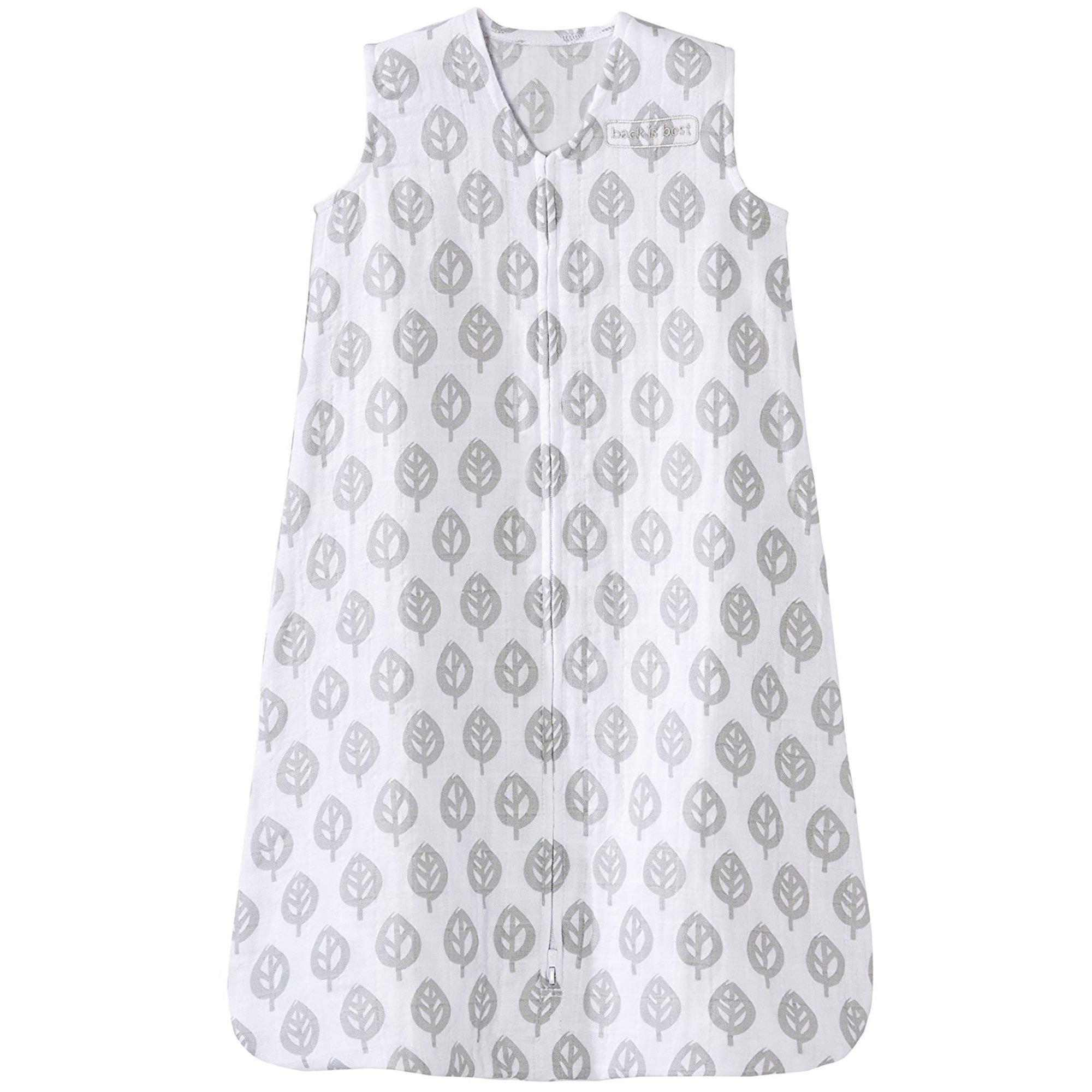 HALO 100% Cotton Muslin Sleep Sack Wearable Blanket, Gray Tree Leaf, Large