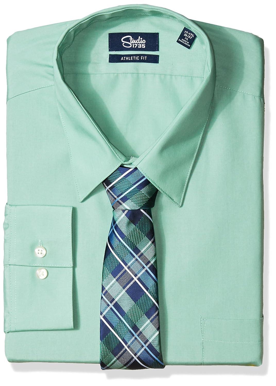 Studio 1735 Mens Standard Mens Dress Shirt Tie Combo Plaidtie