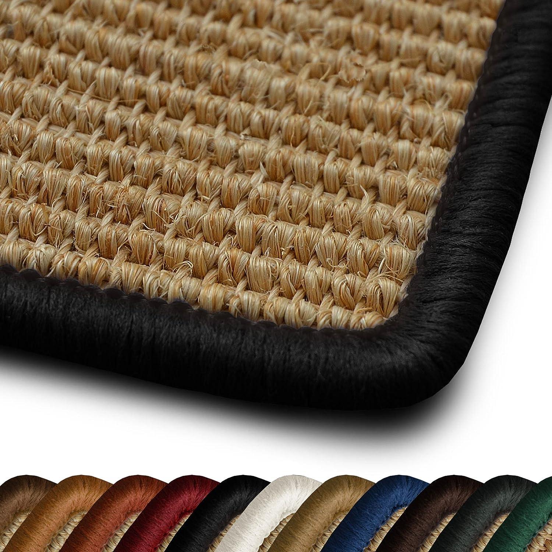50x100cm Non Slip Latex Backing Anti Static 11 Colours casa pura/® Salvador Natural Sisal Runner Rug with Black Border