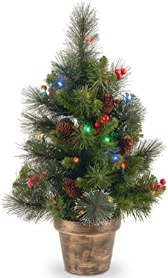 "2' x 14"" Pre-Lit Crestwood Spruce Artificial Christmas Tree – Multi-Color LED Lights"