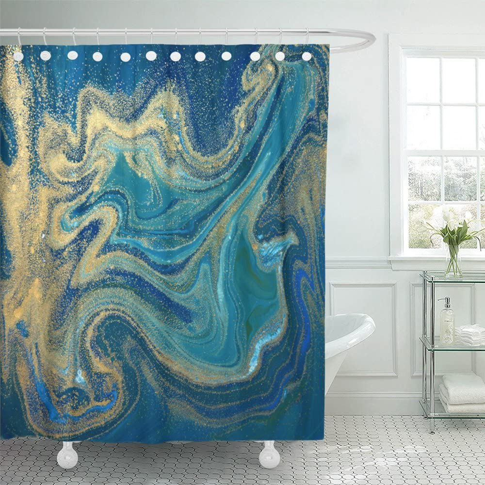"Emvency Paint Blue Green and Gold Liquid Marbling Ink Marble Abstract Pattern Aqua Nature Stone Turquoise Water Waterproof Shower Curtain Curtains 72""X72"" Decorative Bathroom Odorless Eco Friendly"