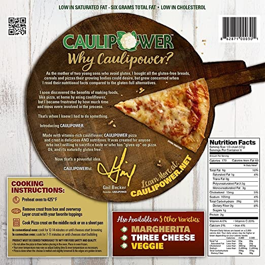 Amazon Caulipower Plain Cauliflower Pizza Crusts Gluten Free