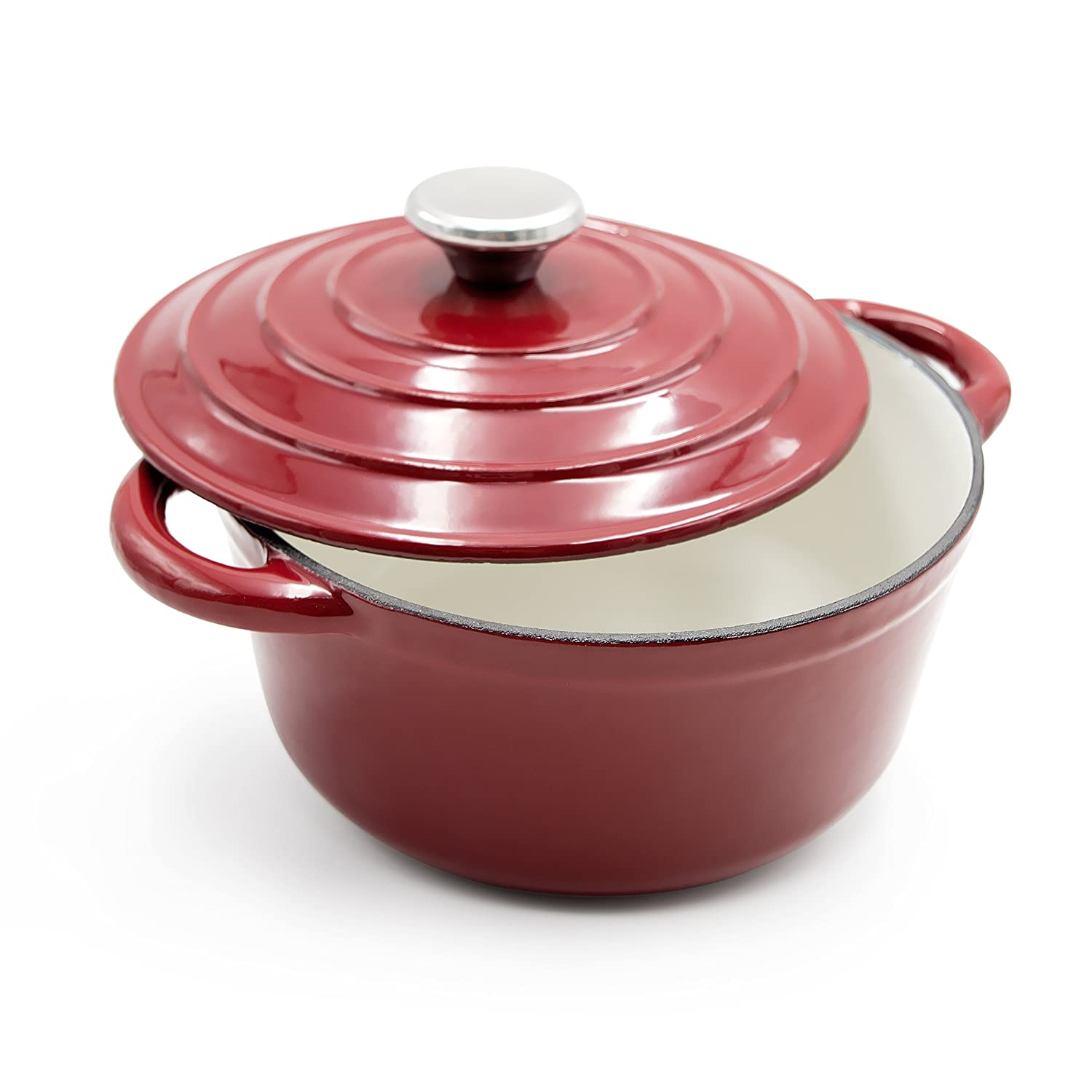 AIDEA Enameled Cast Iron Dutch Oven - 5-Quart Burgundy Red Round Ceramic Coated Cookware French Oven with Self Basting Lid