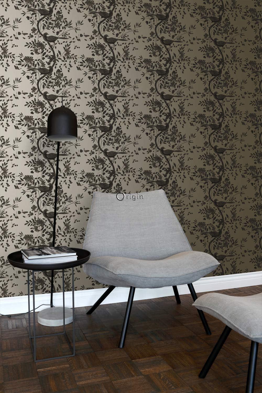 347457 dOrigin luxury wallcoverings papier peint oiseaux blanc divoire et brun cuivr/é brillant