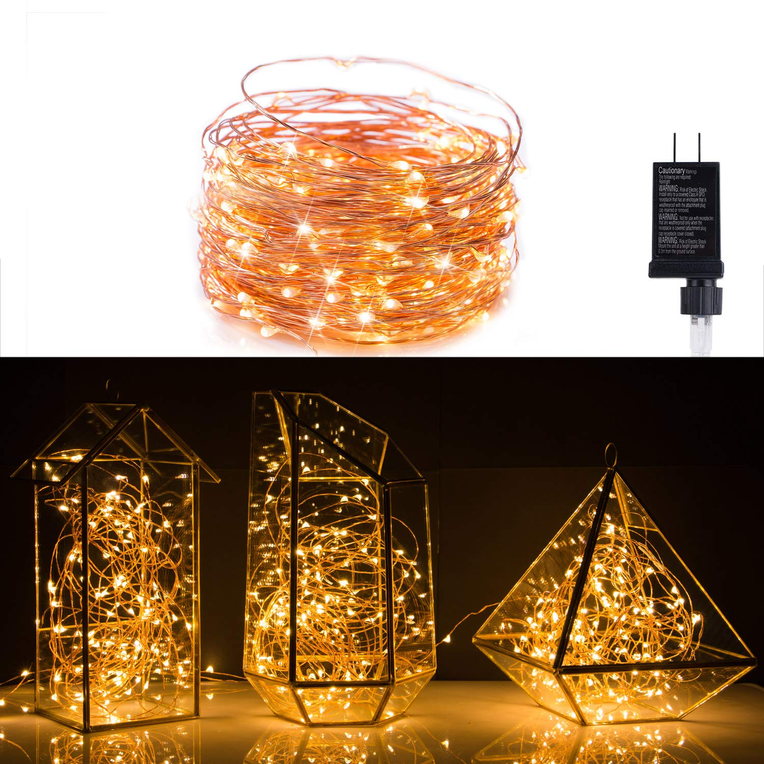 40 FeeT Starry String Lights Warm White LED's on Copper Wire with 120 Individually Mounted LED's-UL Adaptor Included, Perfect for Indoor, Outdoor, Christmas Decorative , Patio, Wedding, Garden