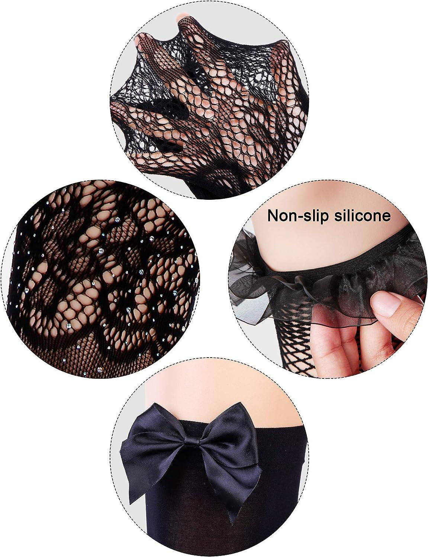 Style B, Noir Chengu 4/Paires/Jarretelles en Dentelle Noire pour Femme Cuisse-Haut Bas R/ésille Collants/Bas de Soie